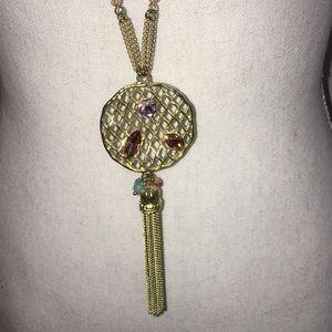 Jewelry - Sweet Lola long gold tone jewel necklace w/tassel